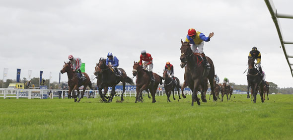 18.10.2014 - Ascot; Alternative view from the bottom; Gordon Lord Byron, ridden by Wayne Lordan (red cap) wins the Qipco British Champions Sprint Stakes (Group 2). Second place: Tropics, ridden by Robert Winston (grey-red cap). Third place: Jack Dexter, ridden by Graham Lee (black cap). Credit: Lajos-Eric Balogh/turfstock.com
