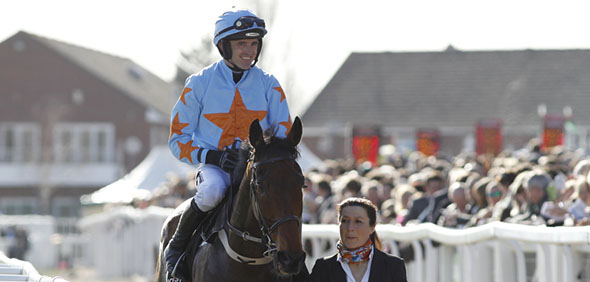 10.03.2015 - Cheltenham; Winners presentation with Un De Sceaux ridden by Ruby Walsh after winning the Racing Post Arkle Challenge Trophy Chase Grade 1. Credit: Lajos-Eric Balogh/turfstock.com