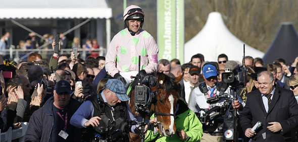 10.03.2015 - Cheltenham; Winners presentation with Faugheen ridden by Ruby Walsh after winning the Stan James Champion Hurdle Challenge Trophy Grade 1. Credit: Lajos-Eric Balogh/turfstock.com