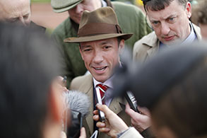 11.03.2015 - Cheltenham; Jockey Lanfranco Dettori in interview after the horse (Dodging Bullets) he breed won the Betway Queen Mother Champion Chase Grade 1. Credit: Lajos-Eric Balogh/turfstock.com