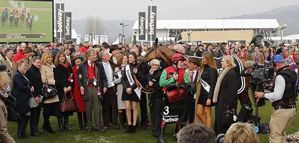 11.03.2015 - Cheltenham; Winners presentation with connections of Dodging Bullets, ridden by Sam Twiston-Davies after winning the Betway Queen Mother Champion Chase Grade 1. Credit: Lajos-Eric Balogh/turfstock.com