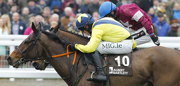 13.03.2015 - Cheltenham; Martello Tower ridden by Adrian Heskin wins the Albert Bartlett Novices Hurdle (Registered As The Spa Novices Hurdle Race) Grade 1. Credit: Lajos-Eric Balogh/turfstock.com