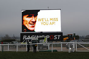 13.03.2015 - Cheltenham; Impressions: View at the screen: We'll miss you AP. Credit: Lajos-Eric Balogh/turfstock.com