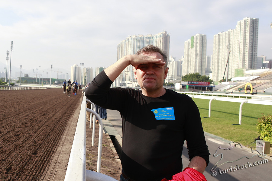 07. Dec. 2011 - Sha Tin Racecourse; Trainer Waldemar Hickst during the morning track work at Sha Tin Racecourse. Credit: Lajos-Eric Balogh/turfstock.com