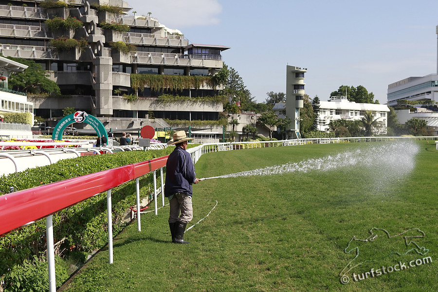 08. Dec. 2011 - Sha Tin Racecourse; Impressions: A worker watered the racecourse at Sha Tin Racecourse. Credit: Lajos-Eric Balogh/turfstock.com