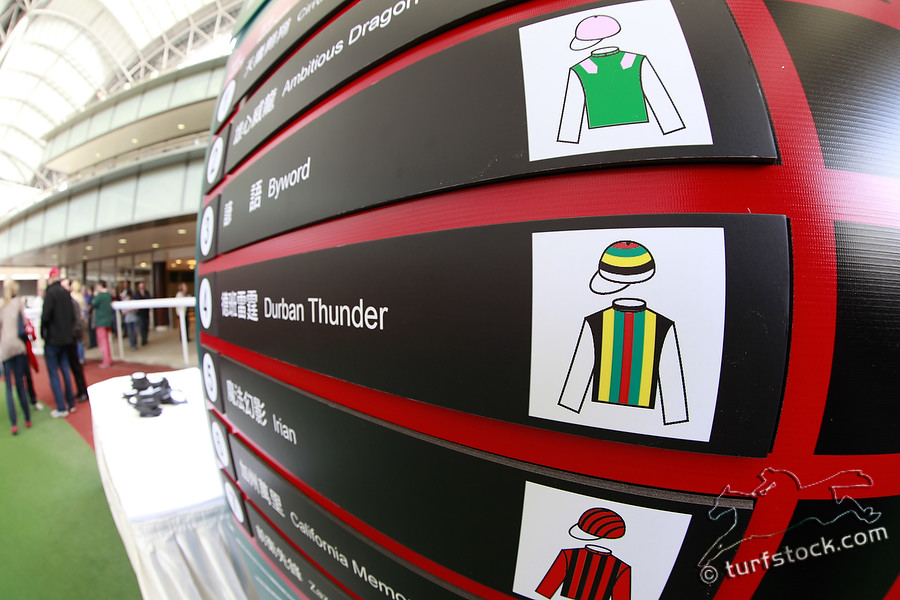 08. Dec. 2011 - Sha Tin Racecourse; Impressions: Display with the runners (Durban Thunder) for the Cathay Pacific International Races during the barrier draw. Credit: Lajos-Eric Balogh/turfstock.com