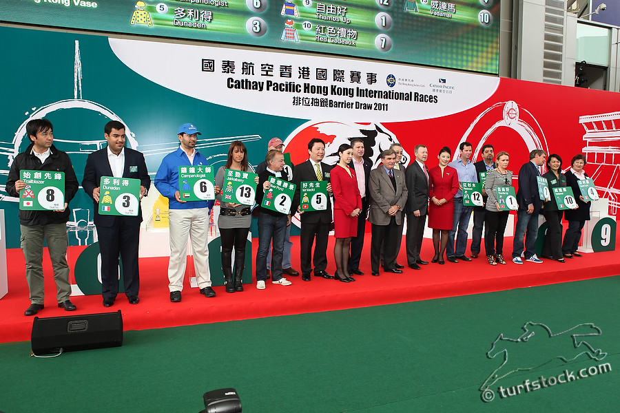 08. Dec. 2011 - Sha Tin Racecourse; Representatives of the runners during the barrier draw for the Cathay Pacific International Races. Credit: Lajos-Eric Balogh/turfstock.com