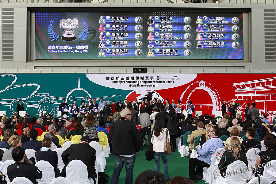 08. Dec. 2011 - Sha Tin Racecourse; Impressions: Atmosphere during the barrier draw for the Cathay Pacific International Races. Credit: Lajos-Eric Balogh/turfstock.com