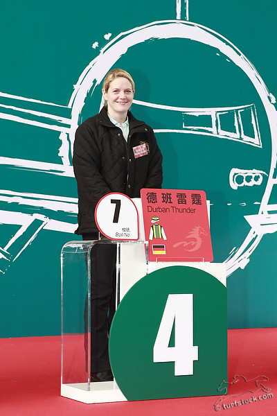 08. Dec. 2011 - Sha Tin Racecourse; Annika Rosenbaum during the barrier draw for the Cathay Pacific International Races. Credit: Lajos-Eric Balogh/turfstock.com