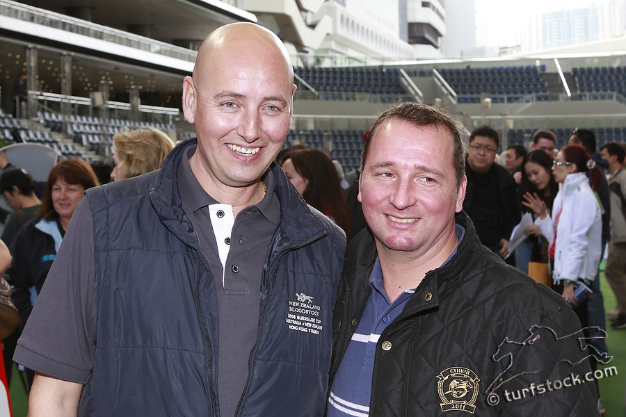 08. Dec. 2011 - Sha Tin Racecourse; Trainer Andreas Schuetz and Trainer Torsten Mundry in portrait, during the barrier draw for the Cathay Pacific International Races. Credit: Lajos-Eric Balogh/turfstock.com
