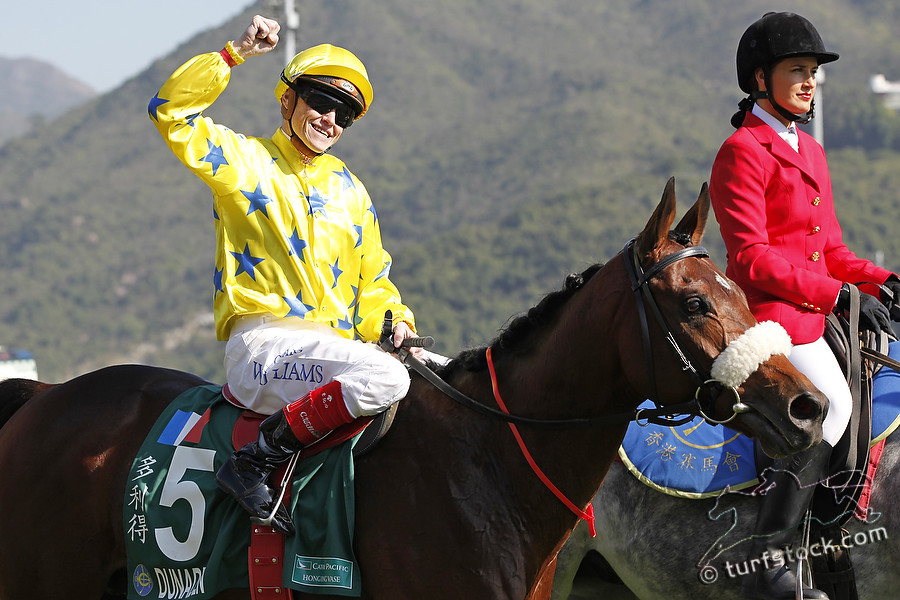 11. Dec. 2011 - Hongkong - Sha Tin Racecourse; Winners presentation with Dunaden, ridden by Craig A Williams after winning the Cathay Pacific Hong Kong Vase - Group 1 (Turf). Credit: Lajos-Eric Balogh/turfstock.com