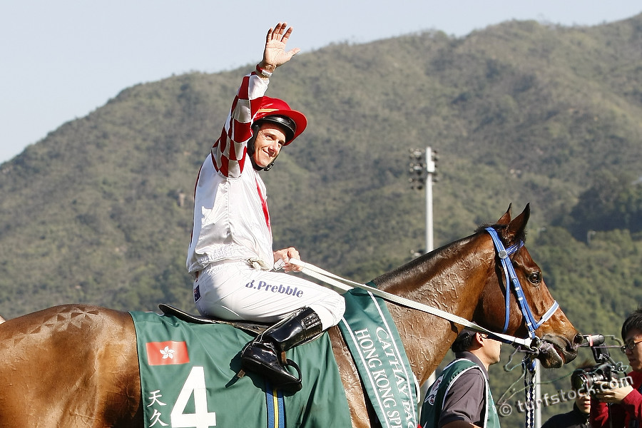 11. Dec. 2011 - Hongkong - Sha Tin Racecourse; Winners presentation with Lucky Nine, ridden by Brett Prebble after winning the Cathay Pacific Hong Kong Sprint - Group 1 (Turf). Credit: Lajos-Eric Balogh/turfstock.com