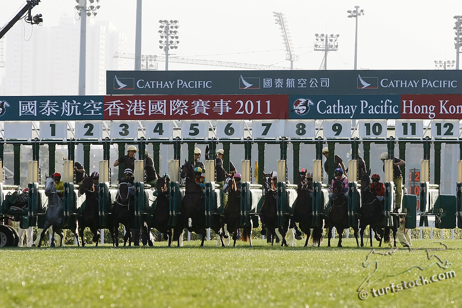 11. Dec. 2011 -Sha Tin Racecourse; Off and running for the Cathay Pacific Hong Kong Cup - Group 1 (Turf). Zazou, ridden by Olivier Peslier and Durban Thunder, ridden by Andrasch Starke leave the starting stalls. Credit: Lajos-Eric Balogh/turfstock.com