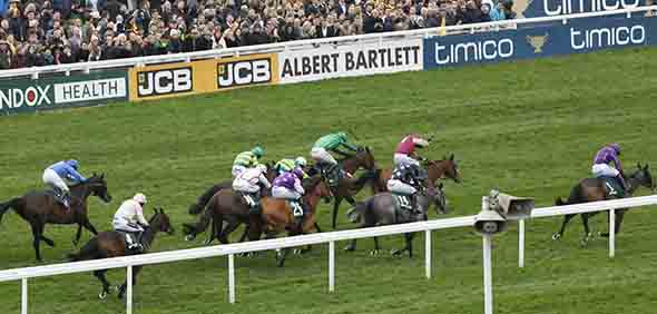 17.03.2017 - Cheltenham; Arctic Fire (No.1) ridden by Paul Townend chased home by the field wins the Randox Health County Handicap Hurdle (Grade 3) at Cheltenham-Racecourse/Great Britain. Credit: Lajos-Eric Balogh/turfstock.com