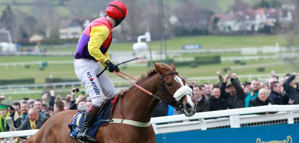 16.03.2018 - Cheltenham; Native River ridden by a jubilant Richard Johnson wins the Timo Cheltenham Gold Cup Chase Grade 1 at Cheltenham-Racecourse/Great Britain. Credit: Lajos-Eric Balogh/turfstock.com